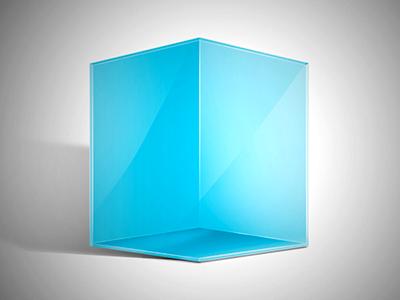Blue Cube web app cube icon blue square shading shadow ice