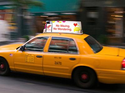 Flywheel Cab Top advertisement cab taxi environmental app banner ad san francisco
