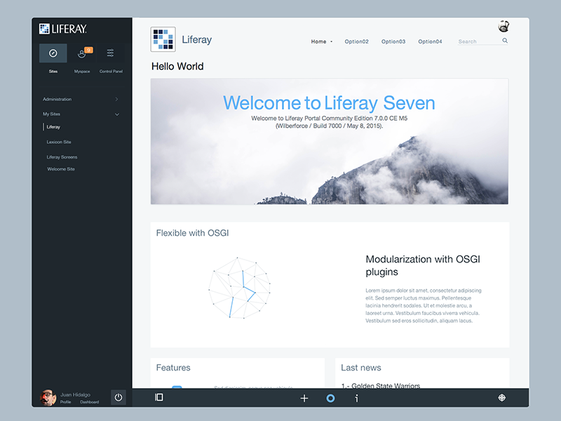 Classic Theme For Liferay 7 Designed With Lexicon By Juan Hidalgo