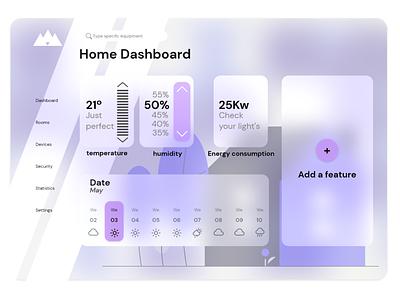 Home dashboard dailyui 021 glassmorphism minimal ui house control dashboard home