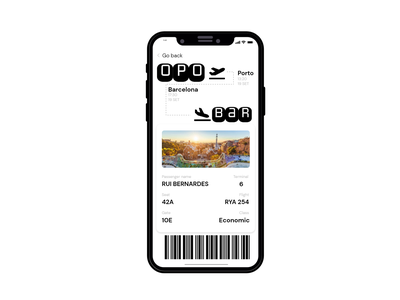 Boarding pass Porto to Barcelona minimal ux ticket iphone ui dailyui 024 plane boardingpass