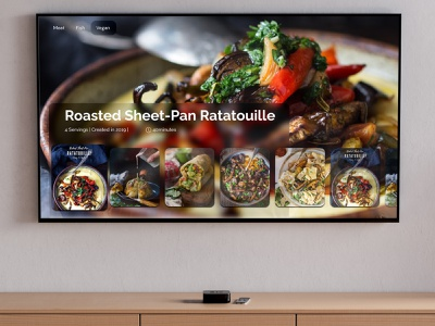 Tv app cuisine recipes ux ui minimal food cuisine kitchen tv app tv dailyui 025