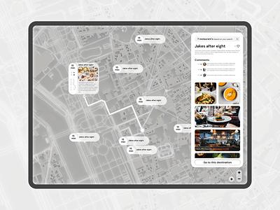 Interactive map, restaurants restaurant profile glass minimal uiux maps ui map