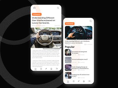Car blog UX mobile app mobile research profile article blog car ux ui