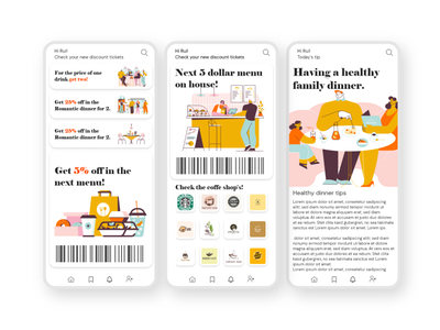 Food special offers and healthy food tips barcode ticket illustration uxdesign special offer ux mobile