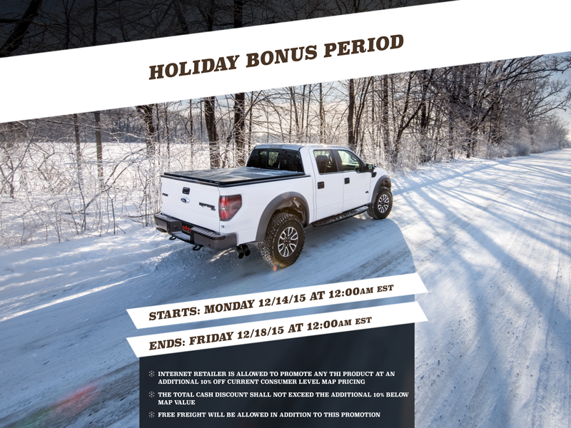 Holiday Promotional Flyer play that funky music wild cherry winter snowflakes covers tonneau trucks