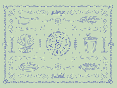 Meat & Potatoes Placemat food pittsburgh working hand-lettering type branding explore craft illustration