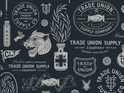 Trade Union Supply Co. Rebrand hand-lettering lettering type illustration branding