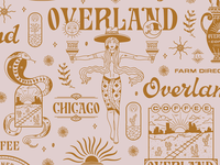 OVERLAND COFFEE & GENERAL desert serif script chicago coffee illustration hand-lettering branding