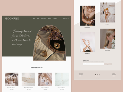 Jewelry brand website design minimal branding landingpage webdesign