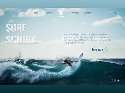 Main screen for Surf School surfing surf surfschool hurley design ux ui uxui uiux product design website concept webdesign landingpage uidesign uxdesign dribble shot