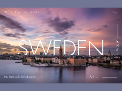Main screen for the favorite country freelance dribbble shot uxdesign uidesign landingpage web design website concept uiux uxui ui ux design country sweden