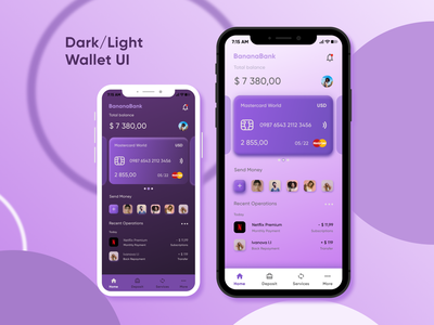 Dark/Light Wallet UI wallet mobile design mobile app branding uxui uiux freelance dribbble shot uxdesign ux uidesign ui design