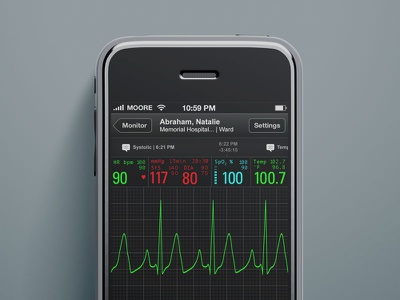 iOS Patient Monitor (old school) visual design ux ui interface medical healthcare iphone ios app