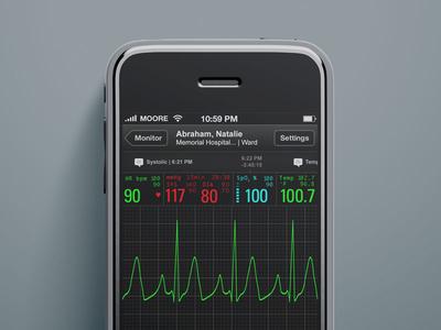 iOS Patient Monitor (old school) visual design ux ui interface medical healthcare iphone ios app
