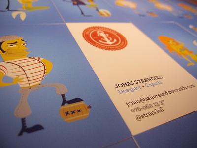 Sailors & Mermaids business cards business card sailor mermaid anchor blue moo
