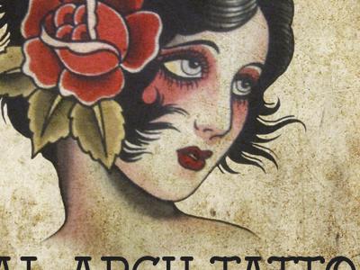 Sign for tattoo shop tattoo sign vintage love mom old school print rose gypsy illustration