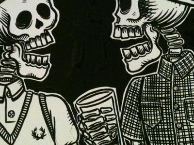 Skeleton Rude Boys illustration ska mods fred perry ben sherman rude boys