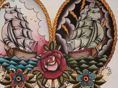 Sailors delight tattoo roses rope sailor