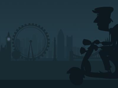 A Scooterist in London skyline london scooter mods big ben london eye silhouette