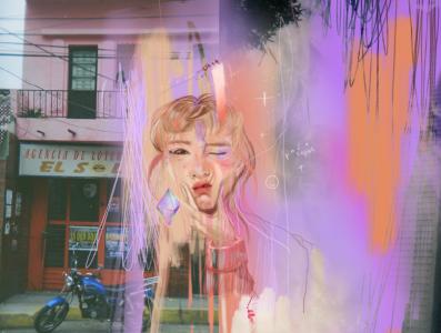 facial expression study mixed pink digital painting illustration