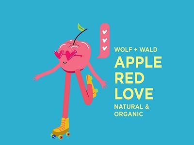 apple red love character design packaging design pink illustration