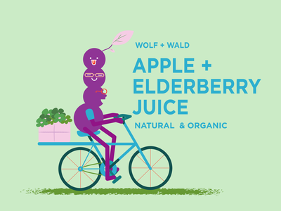 elderberry juice! label character design branding design illustration