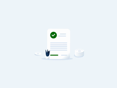 Approved check document illustration request has been approved animation ui