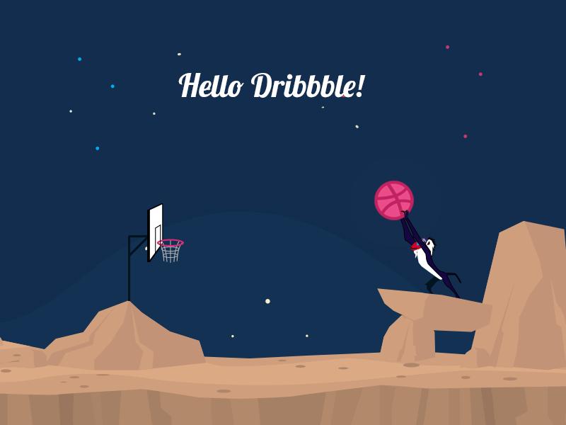 Hellow Dribbble thanks illustration invitation first shot dribbble debut ball
