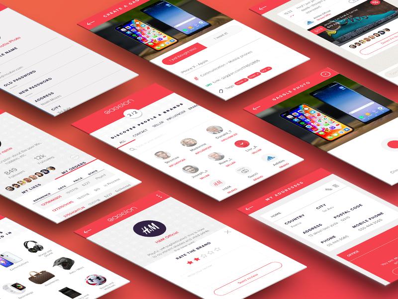 Gagglon Social Shopping flat details icon mobile feed icons app ux design ui