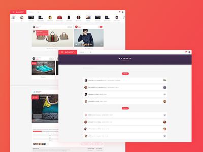 Gagglon Social Shopping website desktop vector e commerce flat icon mobile feed app ux design ui