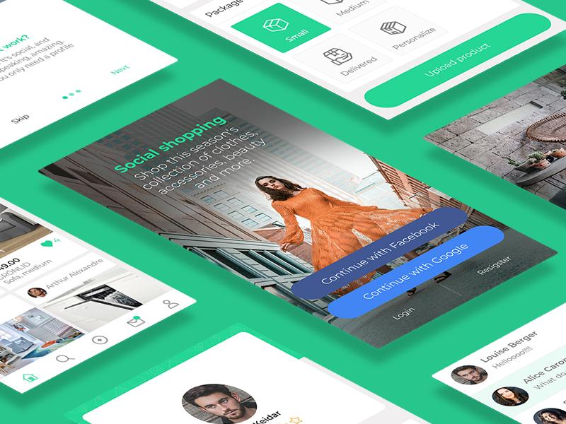 New social shopping app in progress branding details mobile feed ux flat design ui