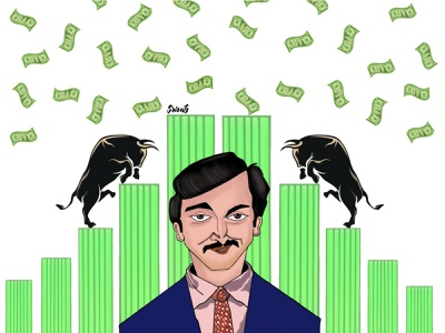 Scam 1992: The Harshad Mehta Story concept art fanart scam 1992 stock market stocks artwork digital illustration digital art illustration