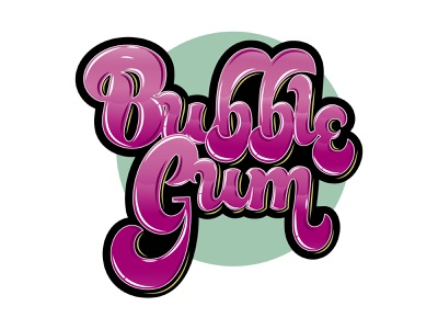 Bubble Gum illustration typography type lettering handlettering design calligraphy and lettering artist calligraphy