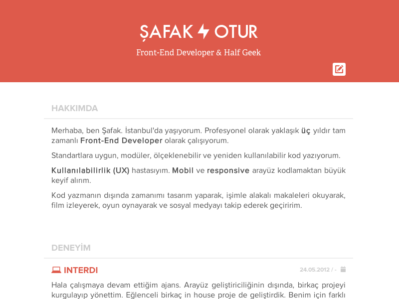 front end developer resume by afak otur dribbble