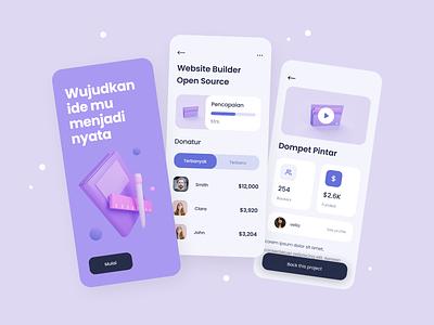 Crowdfunding - exploration purple illustration 3d 3d exploration mobile crowdfunding