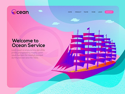 Ship 4 sky sea colorful illustration ship landing page