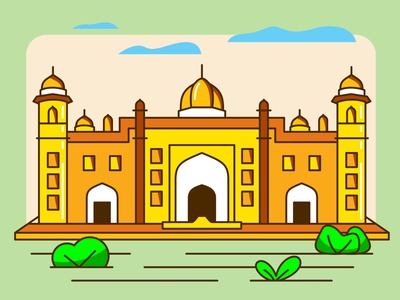 Lalbagh Fort dhaka lalbagh kella lalbagh fort bangladesh vector line drew design illustration