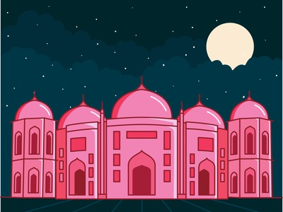 The Sat Gambuj Mosque dhaka bangla colorful bangladesh design vector line drew illustration