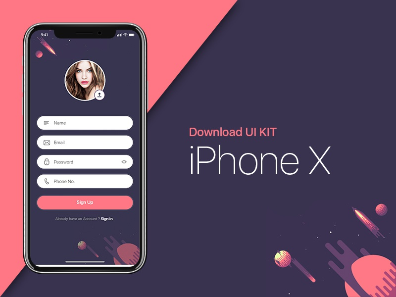 iPhone X | Sign Up UI Kit iphone 8 freebie iphone x ui kit iphone ios 11 iphone x template iphone x iphone mockup