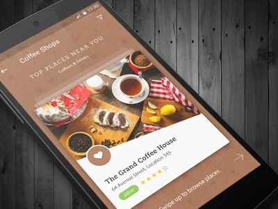 Nearby Coffee Shops | Coffee Delivery App home ux ui mobile android food flat design clean branding restaurant app