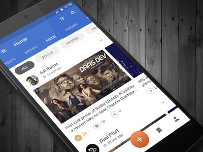 Social News Feed App ux ui restaurant mobile home food flat feeds design branding app android