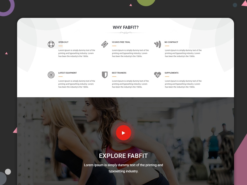Fabfit Wellness website fitness health stayfit gym salon workout crossfit services home landing page