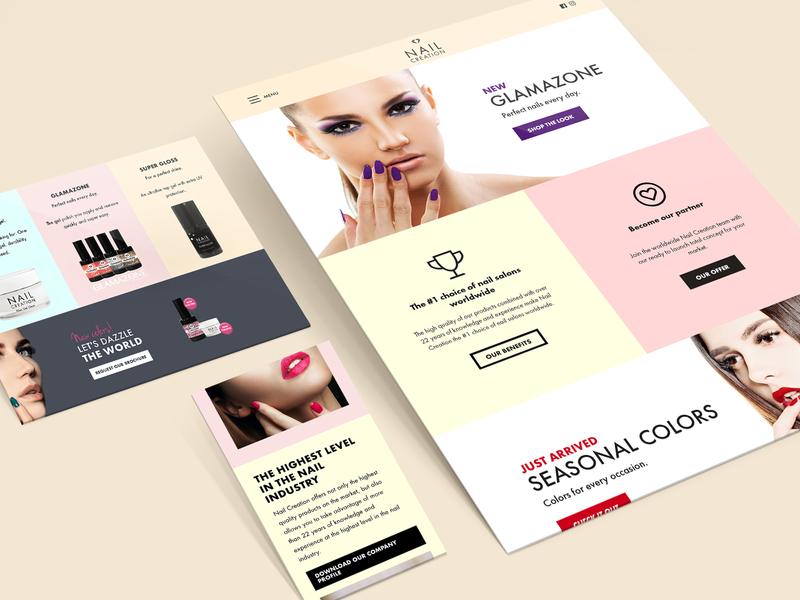 Nail Creation website graphic design webdesign pastel colors pastel website web minimal flat ui ux design branding
