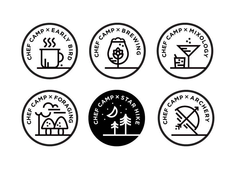 Chef Camp Badges chef camp illustration badges icons