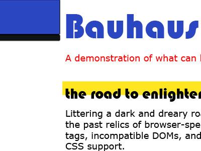 Bauhaus CSS Zen Garden bauhaus css zen garden blue yellow whitespace photoshop