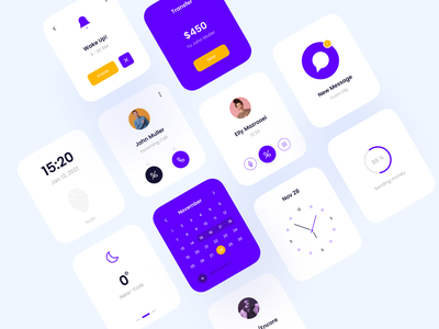 Smart Watch App design ui design ux ui colorful minimal clean design smart watch app watch