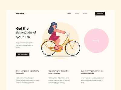 Wheelie - Hero Header Design uidesign hero clean minimal illustration hero header uiux branding