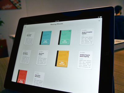 Meeting Minutes iPad Home ui ux cover header writing paper file app ios iphone ipad todo minutes notes meeting
