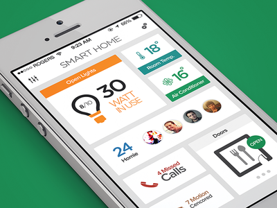 SmartHome Dashboard - iOS7 smart home ios7 app lights air condition room homie call door control